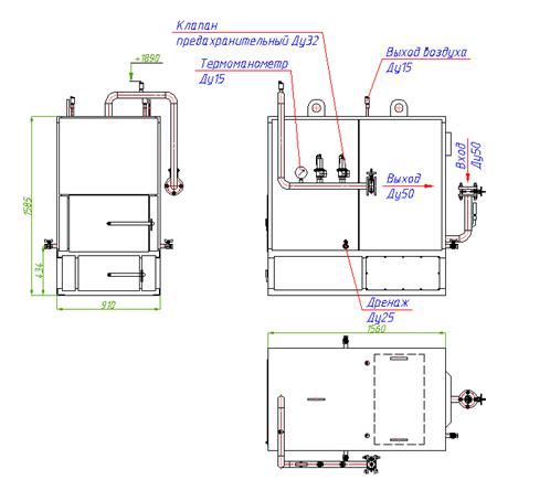 Схема котла КВр-0.1МВт